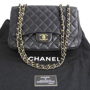 293233711f6c CHANEL Classic Single Flap Jumbo Black Leather Bag